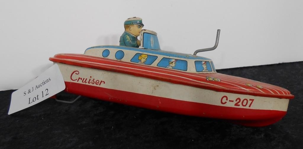 """Wind Up Tin Toy Boat 10"""" Long"""