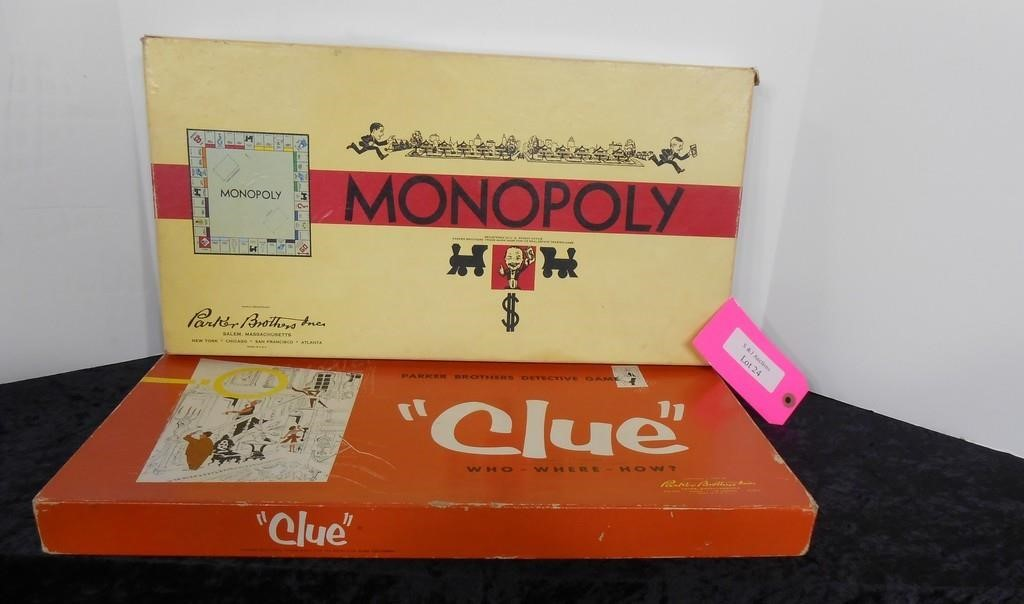 Lot of 2 Vintage Games - Monopoly & Clue