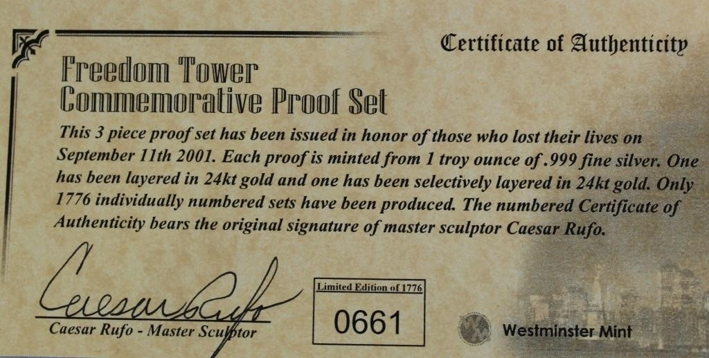 COA of Freedom Tower Proof Set Coins, SN: 0661 (picture 2)