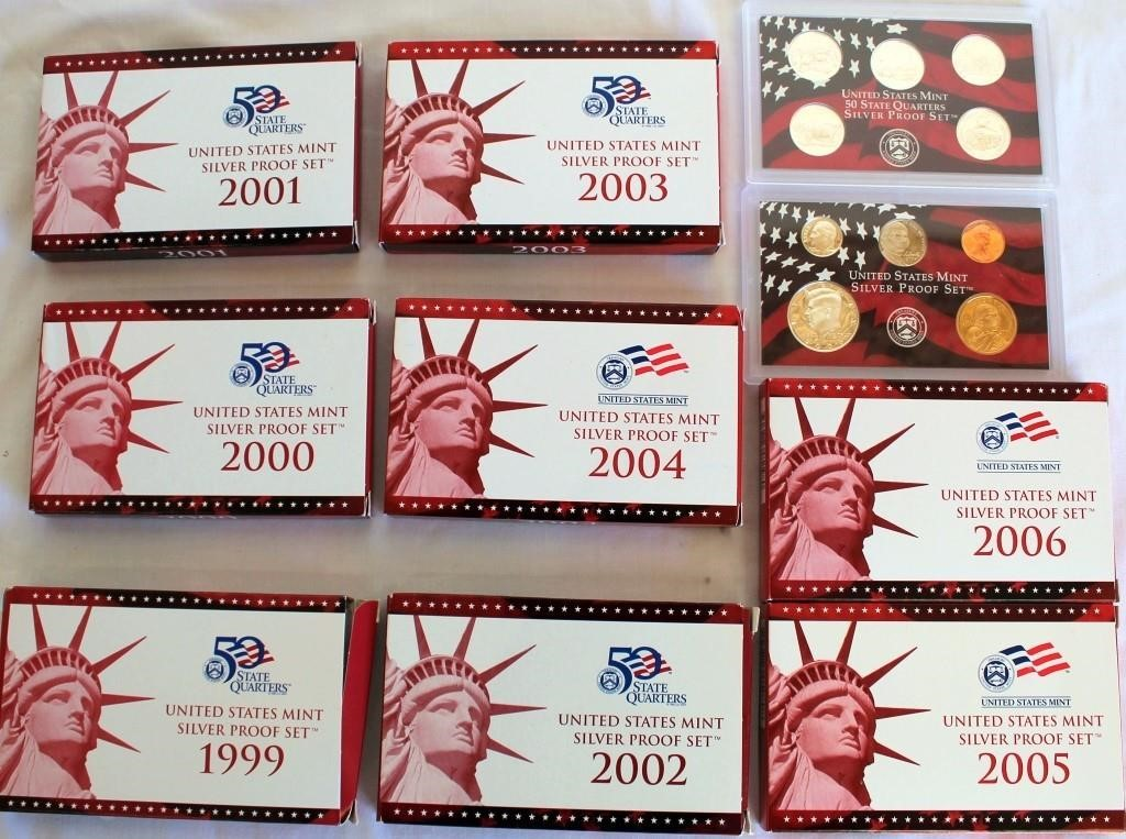 8- US Mint Silver Proof Sets w/ 5- State Quarters in each set, 1999 thru 2006