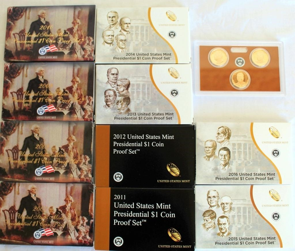 2 Sets (only one set shown in pic) of 2007 thru 2016 US Mint Presidential Dollar Coin Proof Sets (3 coins each yr) PIC OF FRONT SIDE