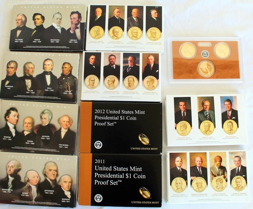 2 Sets (only one set shown in pic) of 2007 thru 2016 US Mint Presidential Dollar Coin Proof Sets (3 coins each yr) PIC OF BACK SIDE