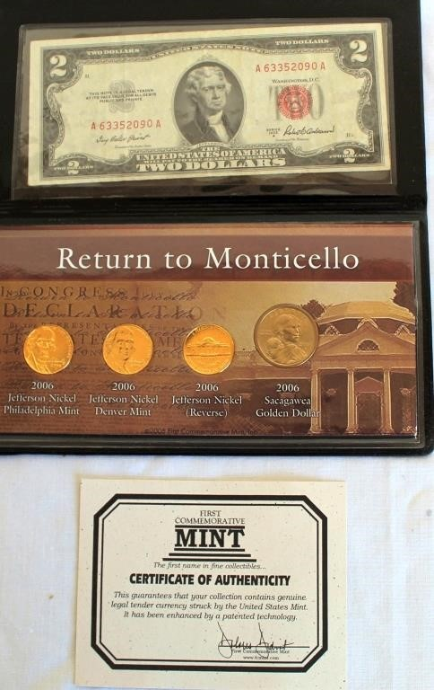2006 Return to Monticello Collection (4 coins & $2 bill)