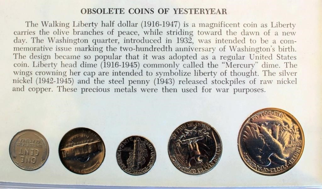 Obsolete Coins of Yesteryear (5 coins) PIC OF BACK SIDE