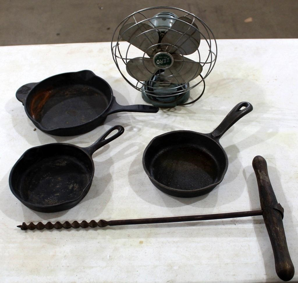 Cast Iron Skillets, Fan, Bit w/handle