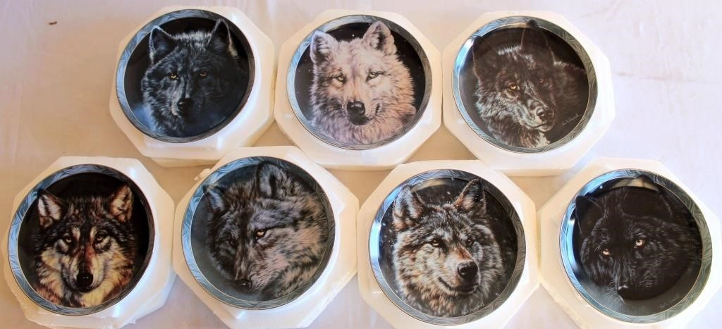 "Plate Collection ""Mystic Spirit"" by Vivi K. Crandall (Moon Shadows; Arctic Nights; Keeper of the Night; Silent Encounter; Entrancing Glance; Silent Night; Midnight Magic)"