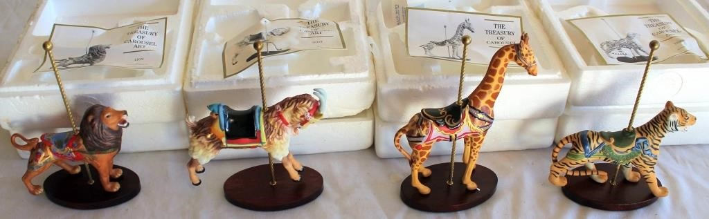 "Porcelain Animals ""The Treasury of Carousel"" (Lion; Goat; Giraffe; Tiger)"