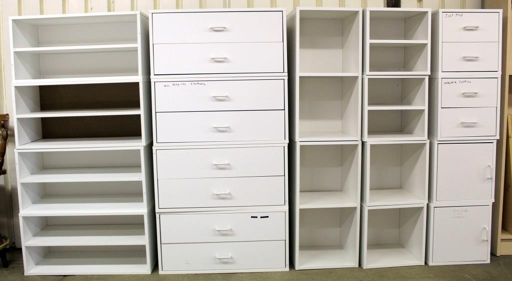 18 Pc - White Wood Stackable Storage