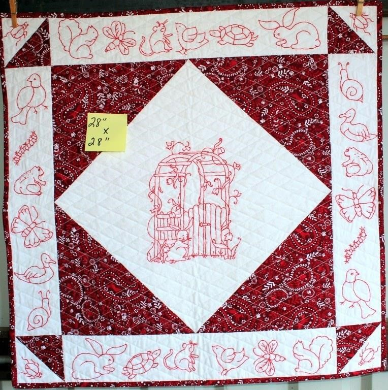 "Small Handmade Quilt w/Embroidery, 28""x28"""