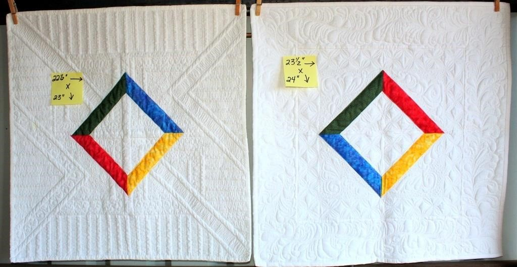"(2) Small Handmade Quilt, each approx 22""x23"""