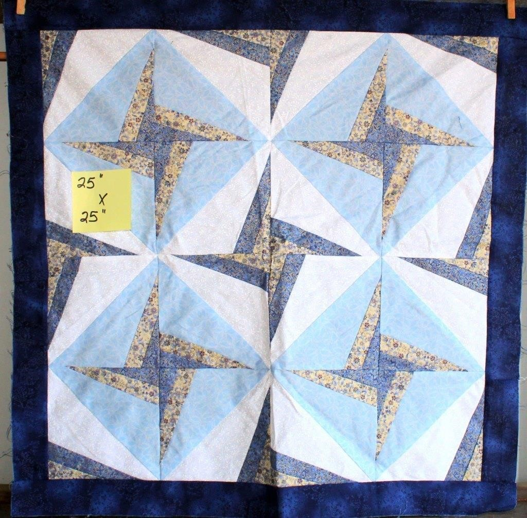 "Small Handmade Quilt Topper (not finished) 25""x25"""