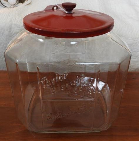 Vintage Taylor Biscuit Co. glass advertising