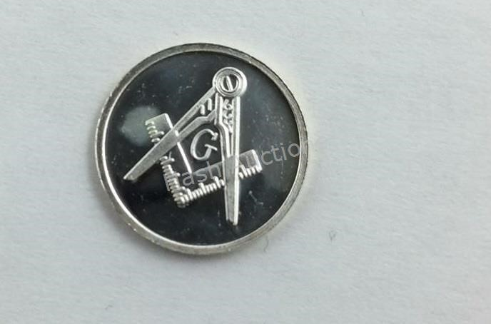 1 Gram .999 Pure Silver Round with Masons Symbol