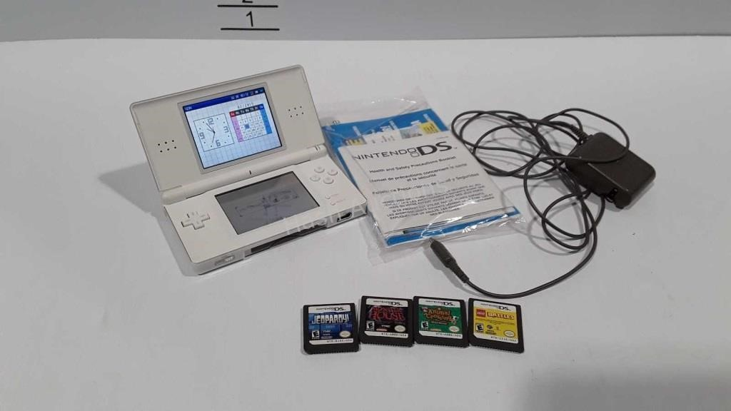 NintendoDS, white - with power cord, 4 games, and