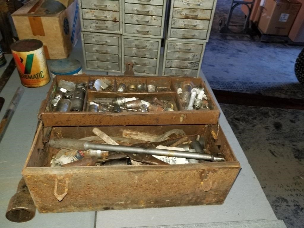 old wood box of tools