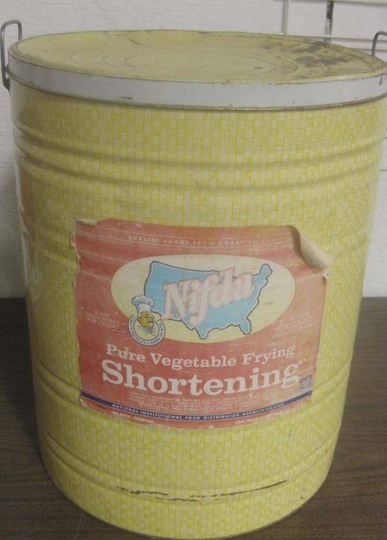 Large Vintage Nifda Frying Shortening Tin w/ Lid