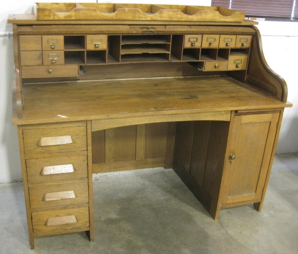 1870's Antique Oak Physicians Roll-Top Desk