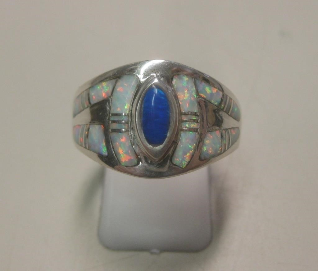 Sterling Silver & Opal Ring - Hallmarked