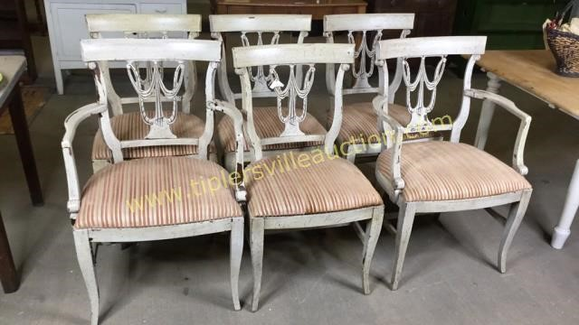 Set of 6 drape carved back chairs- 4 side chairs