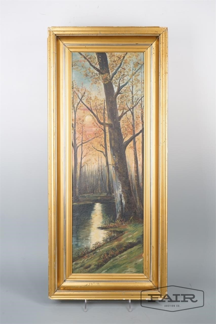 Framed Painting of Woods and Pond on Board