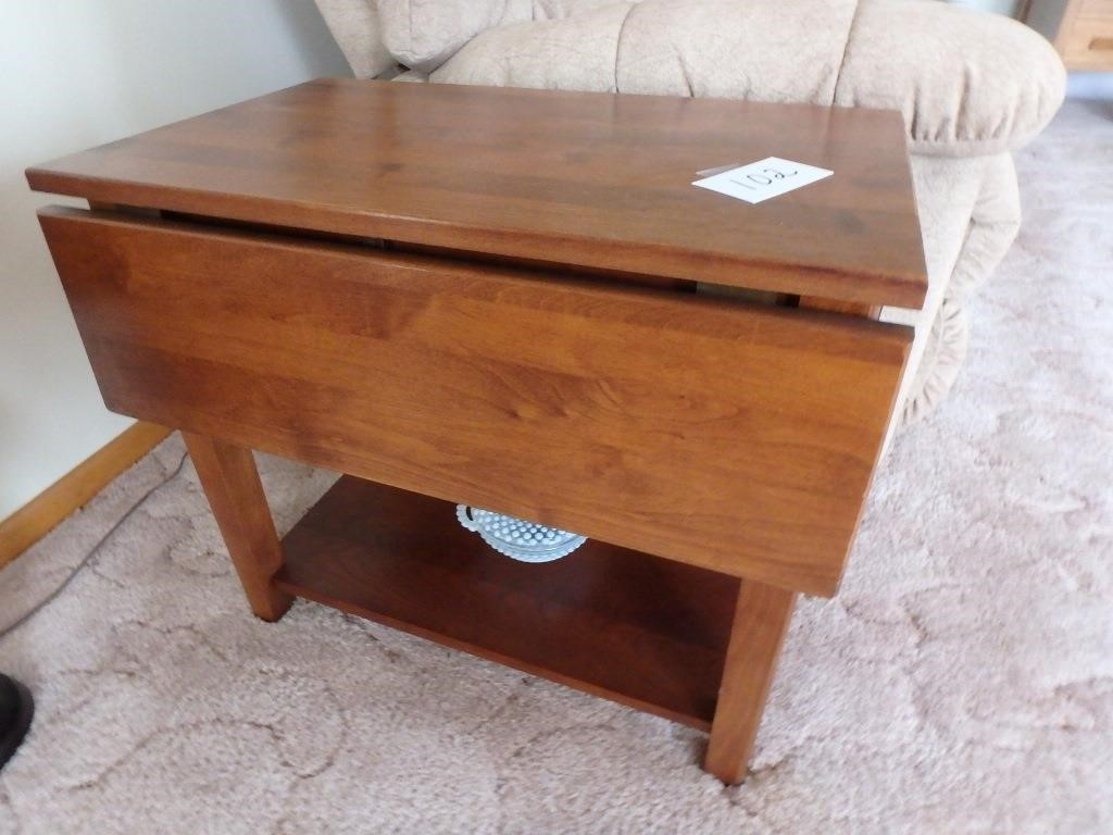 2-Matching walnut double drop leaf end tables