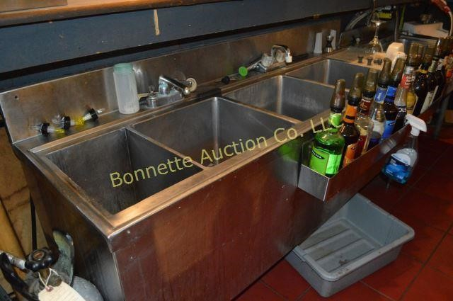 STAINLESS STEEL FOUR BAY BAR SINK 6FT
