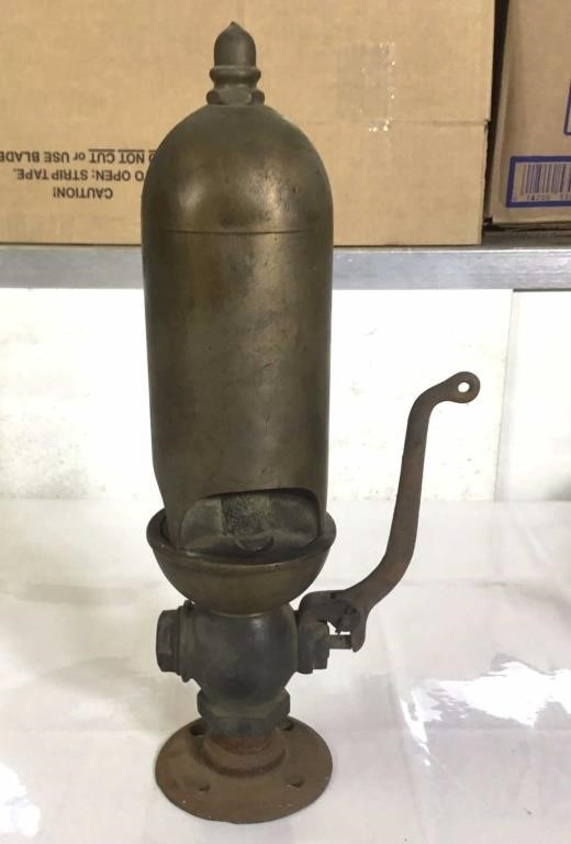 """Brass train whistle, approximately 15"""" tall."""