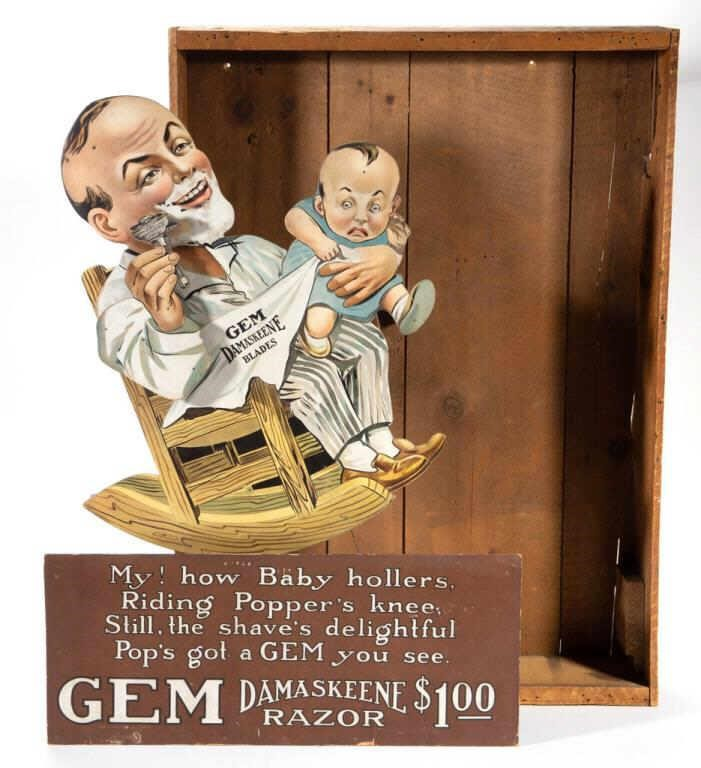 Gem Razors mechanical store display with original crate