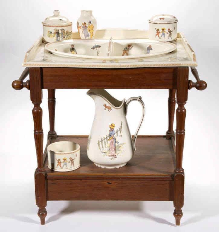 Kate Greenway decorated children's wash bowl and pitcher with accessories and original stand