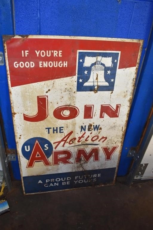 5+ Early Military Metal Signs