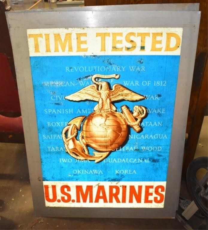 WW2 Large US Mariines Metal Sign