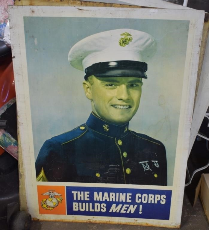 Large Metal Marine Corps Metal Sign