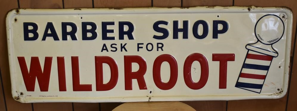 Barber Shop Wildroot Metal Sign