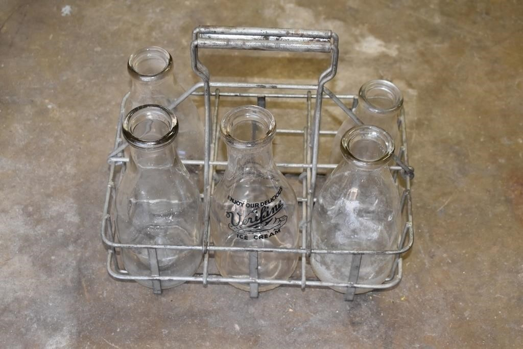Old Milk Bottles & Metal Carrier