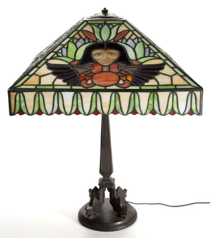 Sample of leaded glass and reverse-painted lighting, including a Dufner & Kimberley Egyptian lamp