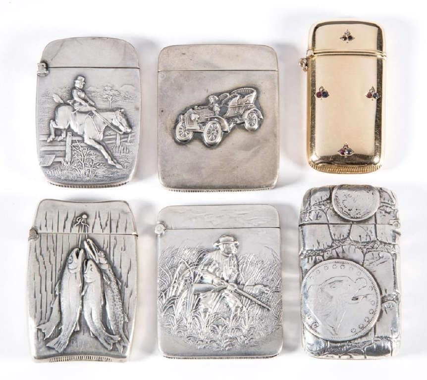 Selection of sterling and gold match safes from the William A. Litle Collection