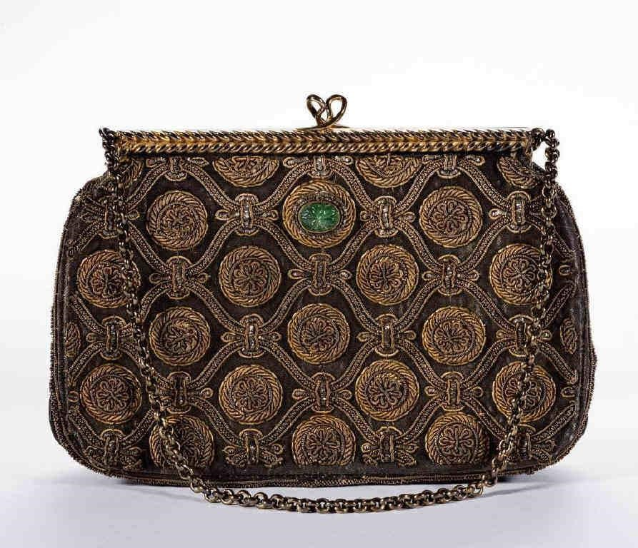 Vintage Van Cleef & Arpels gilt silver and emerald embroidered and jeweled purse, from the estate of columnist, Art Buchwald (1925-2007), Washington, D. C.
