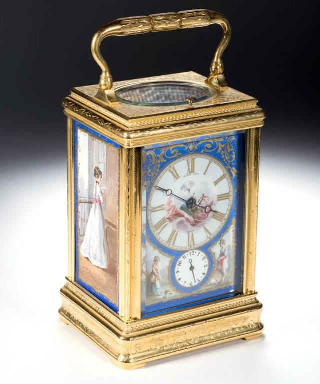 Henry Capt gilt bronze carriage clock with porcelain panels, one of over 100 fine timepieces from the William A. Litle estate collection, Garden Grove, CA