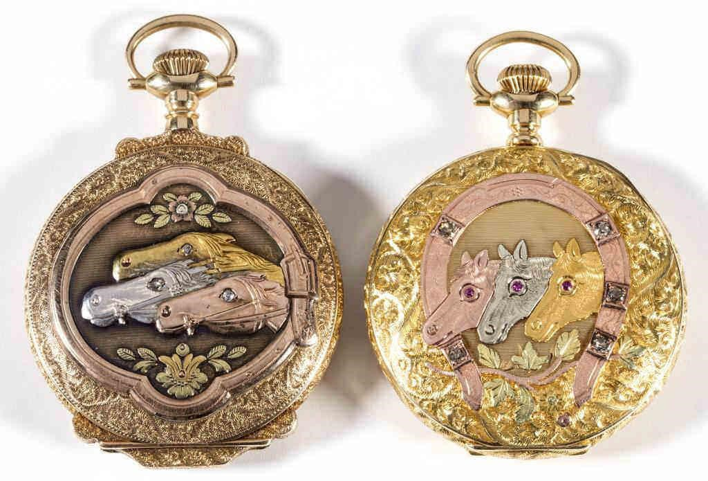 Waltham tricolor gold pocket watches with diamond and ruby accents