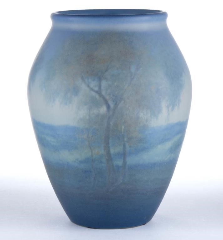 Rookwood scenic vellum vase, artist Ed Diers, one of several examples
