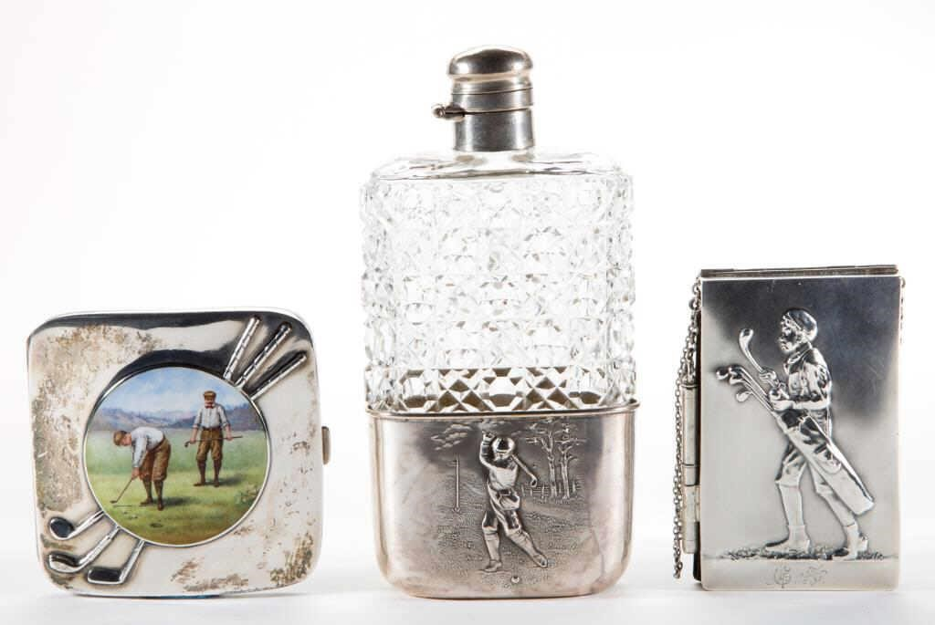 Selection of golf-themed sterling articles from the William A. Litle Collection
