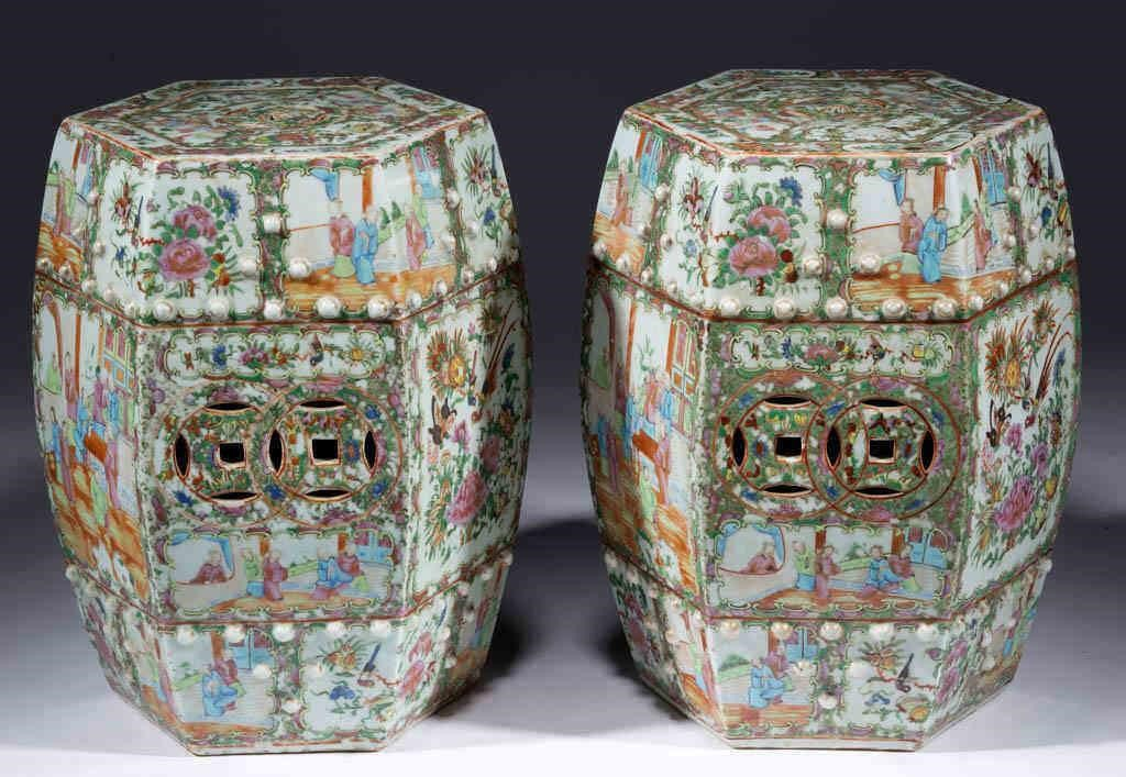Pair of Chinese Rose Medallion garden seats, descended in the family of Harry Hines Woodring, 25th Governor of Kansas and U. S. Secretary of War 1936-1940, purchased at the Dillon family estate auction, Topeka, KS, 1941.