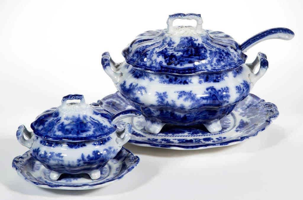 """Large selection (185 pieces) of Staffordshire Transferware Flow Blue in the """"Fairy Villas"""" pattern"""