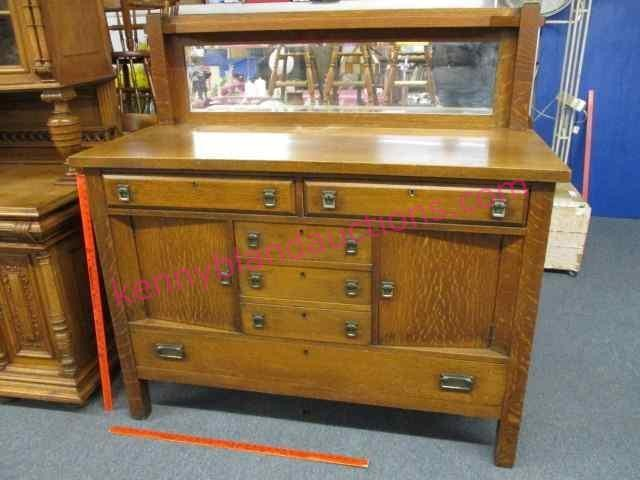 old mission oak sideboard w/mirror (4.5ft wide)
