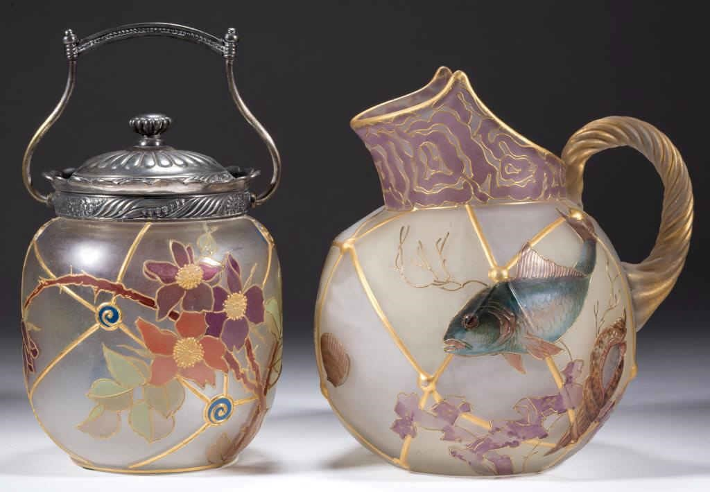 Royal Flemish Cracker Jar and Pitcher from the William A. Litle collection.