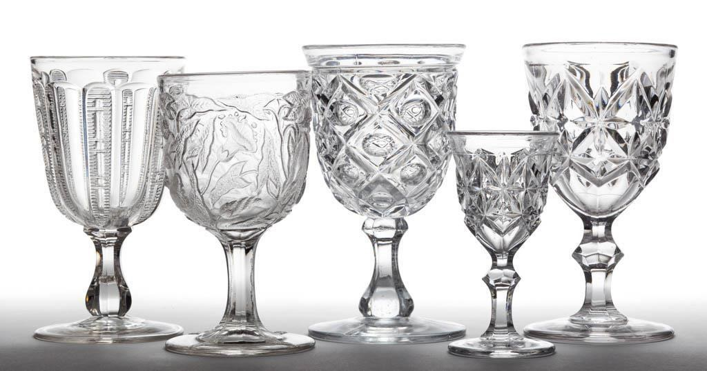 Fine collection of flint EAPG goblets