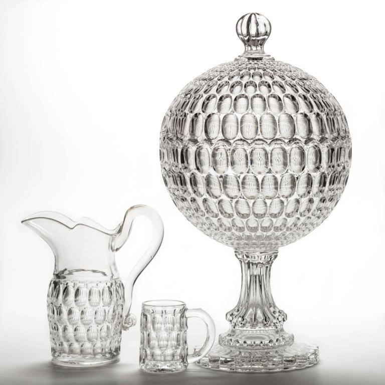 Argus / Early Thumbprint including the largerst spherical covered compote in outstanding condition