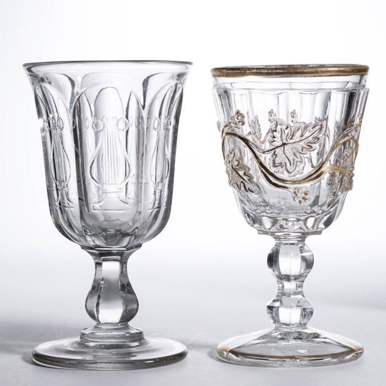 Rare Harp and Sandwich Vine goblets - Winfrey Collection