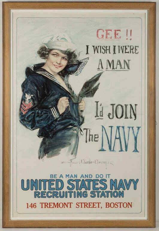 Howard Chandler Christy (American, 1872-1952) WWI Navy recruiting poster