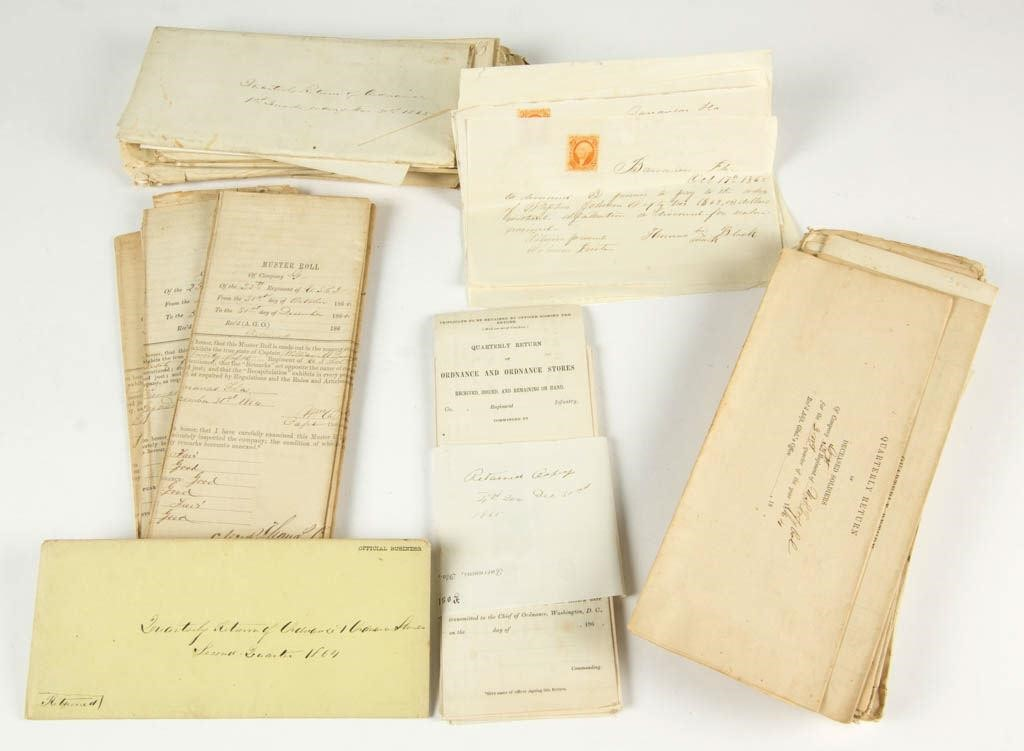 Important Civil War United States Colored Troops archives (c.1865), comprising 70 military documents including muster roles